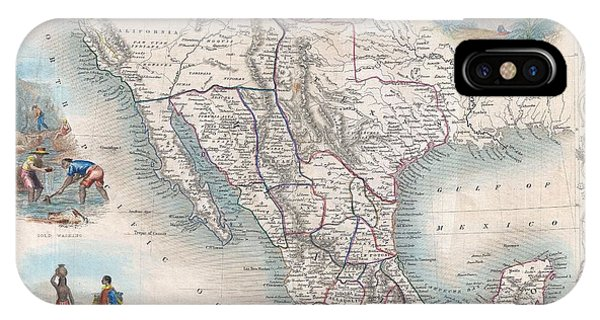 1851 Tallis Map Of Mexico Texas And California  IPhone Case