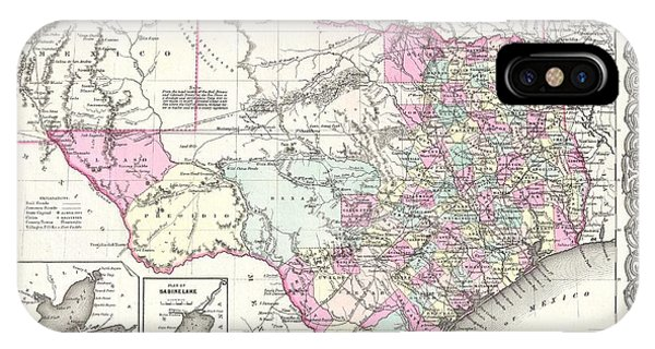 iPhone Case - 1855 Colton Map Of Texas by Paul Fearn