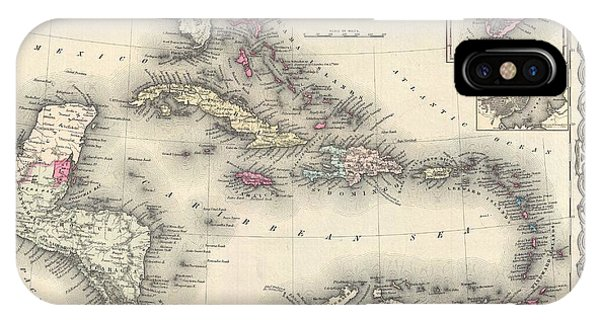 iPhone Case - 1855 Colton Map Of The West Indies by Paul Fearn
