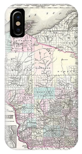 iPhone Case - 1855 Colton Map Of Wisconsin by Paul Fearn