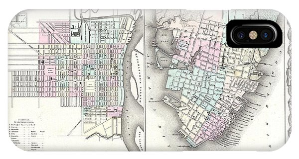 iPhone Case - 1855 Colton Plan Or Map Of Charleston South Carolina And Savannah Georgia by Paul Fearn