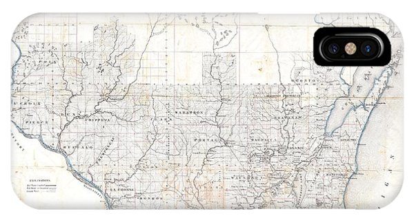iPhone Case - 1856 Chapman Pocket Map Of Wisconsin by Paul Fearn