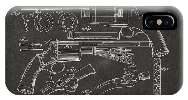 Weapons iPhone Case - 1856 Lemat Revolver Patent Artwork - Gray by Nikki Marie Smith