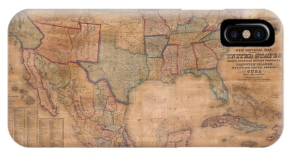 iPhone Case - 1856 Mitchell Wall Map Of The United States And North America by Paul Fearn