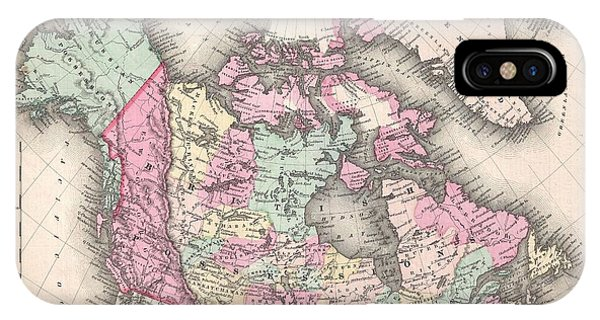 iPhone Case - 1857 Colton Map Of Canada And Alaska by Paul Fearn