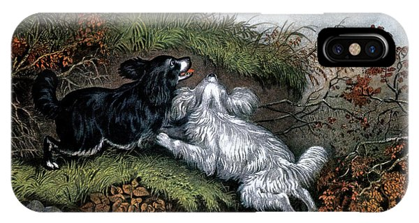 Woodcock iPhone Case - 1860s Two Spaniel Dogs Flushing by Vintage Images