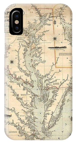 1862 iPhone Case - 1862 Chesapeake Bay Map by Dan Sproul