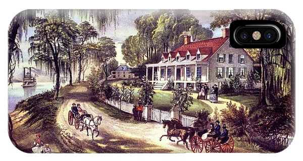 Porch iPhone Case - 1870s 1800s A Home On The Mississippi - by Vintage Images
