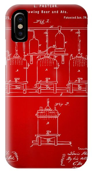 Brewery iPhone Case - 1873 Brewing Beer And Ale Patent Artwork - Red by Nikki Marie Smith