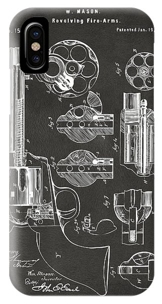 Patent Drawing iPhone Case - 1875 Colt Peacemaker Revolver Patent Artwork - Gray by Nikki Marie Smith