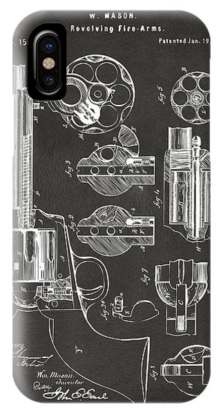 1875 Colt Peacemaker Revolver Patent Artwork - Gray IPhone Case
