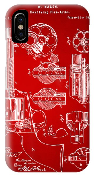 Weapons iPhone Case - 1875 Colt Peacemaker Revolver Patent Red by Nikki Marie Smith