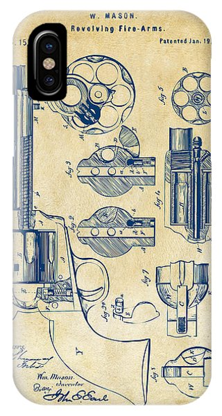 Weapons iPhone Case - 1875 Colt Peacemaker Revolver Patent Vintage by Nikki Marie Smith