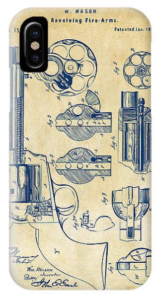 IPhone Case featuring the digital art 1875 Colt Peacemaker Revolver Patent Vintage by Nikki Marie Smith