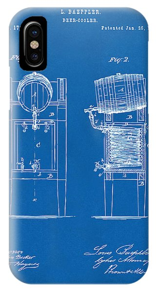 Brewery iPhone Case - 1876 Beer Keg Cooler Patent Artwork Blueprint by Nikki Marie Smith