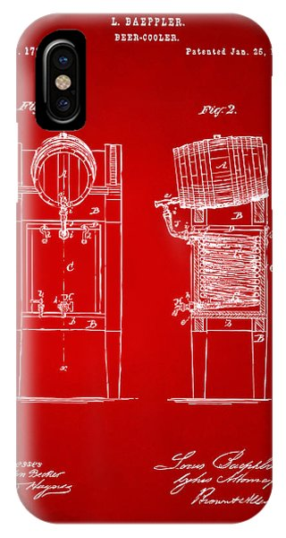 Brewery iPhone Case - 1876 Beer Keg Cooler Patent Artwork Red by Nikki Marie Smith