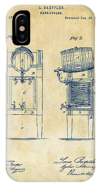 Brewery iPhone Case - 1876 Beer Keg Cooler Patent Artwork - Vintage by Nikki Marie Smith