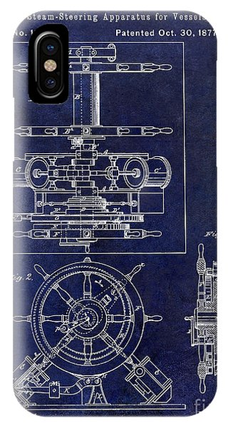 1877 iPhone Case - 1877 Steering Apparatus For Vessels Patent Drawing Blue by Jon Neidert