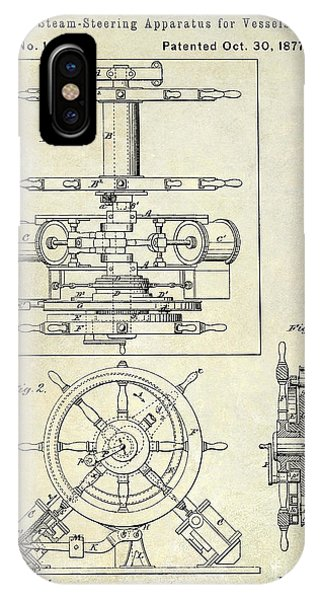 1877 iPhone Case - 1877 Steering Apparatus For Vessels Patent Drawing by Jon Neidert