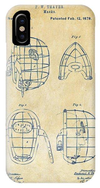 1878 Baseball Catchers Mask Patent - Vintage IPhone Case