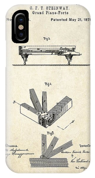 1878 Steinway Grand Piano Forte Patent Art S.2 IPhone Case