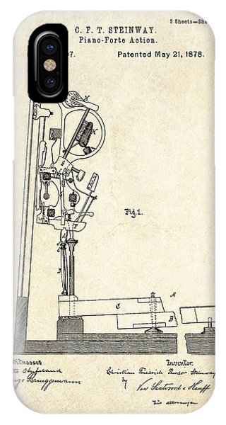 1878 Steinway Piano Forte Action Patent Art  IPhone Case