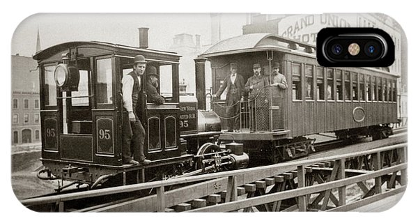 1880s iPhone Case - 1880s Men On Board Elevated Locomotive by Vintage Images