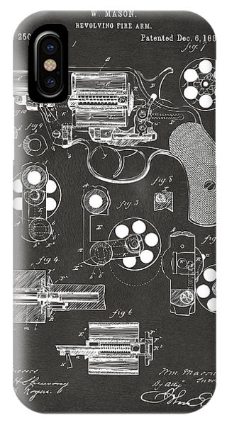1881 Colt Revolving Fire Arm Patent Artwork - Gray IPhone Case
