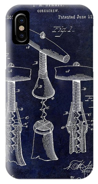 1883 Corkscrew Patent Drawing IPhone Case