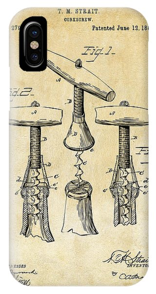 1883 Wine Corckscrew Patent Art - Vintage Black IPhone Case