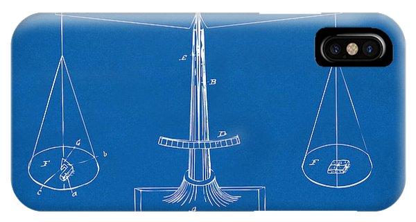Fairness iPhone Case - 1885 Balance Weighing Scale Patent Artwork Blueprint by Nikki Marie Smith