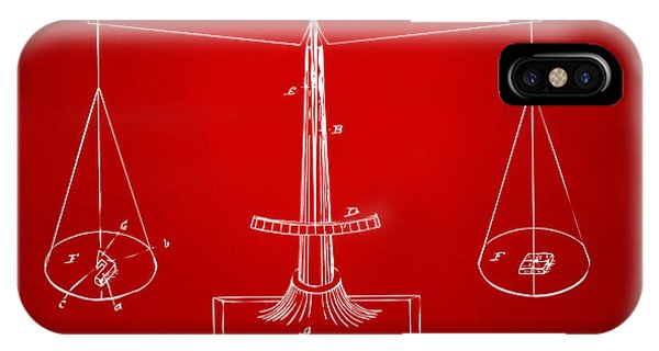 Fairness iPhone Case - 1885 Balance Weighing Scale Patent Artwork Red by Nikki Marie Smith