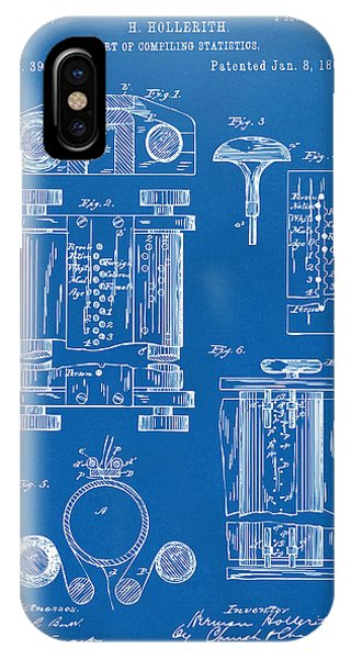 Patent Office iPhone Case - 1889 First Computer Patent Blueprint by Nikki Marie Smith