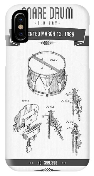 1889 Snare Drum Patent Drawing IPhone Case