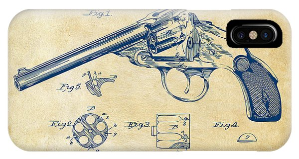 Weapons iPhone Case - 1889 Wesson Revolver Patent Minimal - Vintage by Nikki Marie Smith