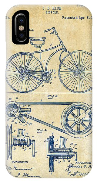 Bicycle iPhone X Case - 1890 Bicycle Patent Artwork - Vintage by Nikki Marie Smith