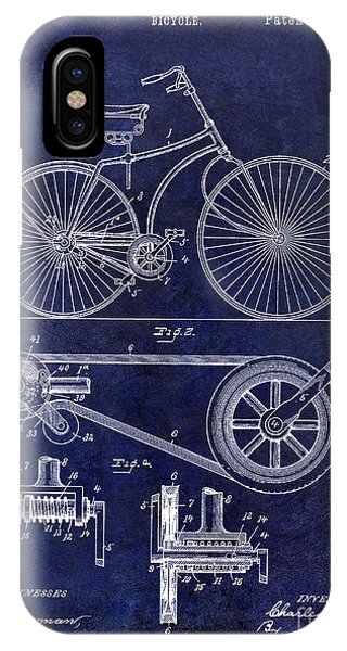 1895 iPhone Case - 1890 Bicycle Patent Drawing Blue by Jon Neidert