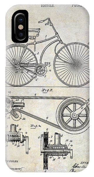 1895 iPhone Case - 1890 Bicycle Patent Drawing by Jon Neidert
