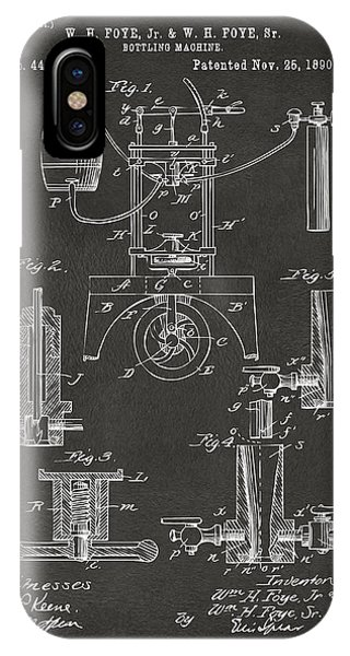 1890 Bottling Machine Patent Artwork Gray IPhone Case