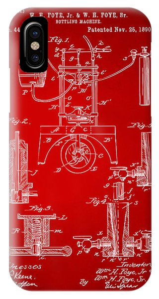 Brewery iPhone Case - 1890 Bottling Machine Patent Artwork Red by Nikki Marie Smith