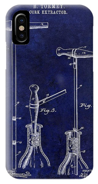 1890 Cork Extractor Patent Drawing Blue IPhone Case