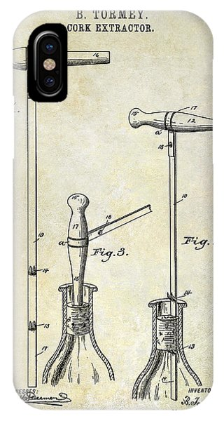 1890 Cork Extractor Patent Drawing IPhone Case