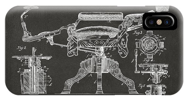 1891 Barber's Chair Patent Artwork - Gray IPhone Case