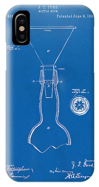 Brewery iPhone Case - 1891 Bottle Neck Patent Artwork Blueprint by Nikki Marie Smith