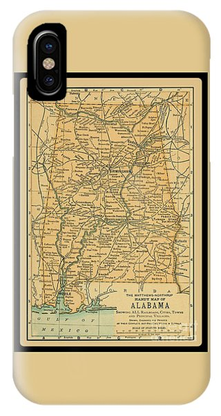 1891 Map Of Alabama IPhone Case