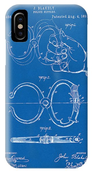 1891 Police Nippers Handcuffs Patent Artwork - Blueprint IPhone Case