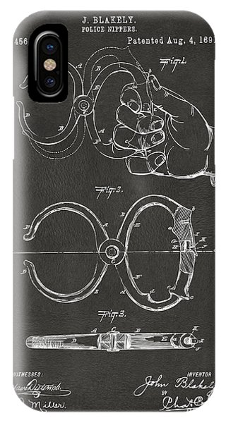 1891 Police Nippers Handcuffs Patent Artwork - Gray IPhone Case