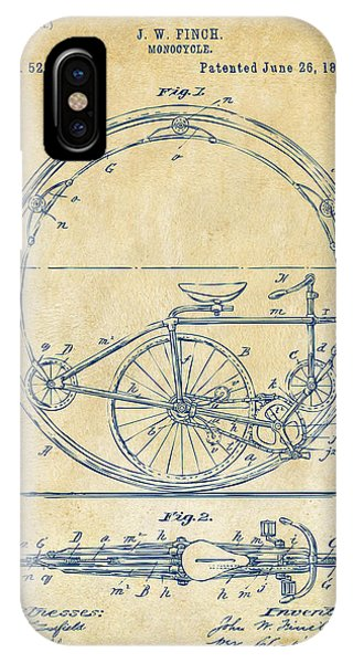 Manly iPhone Case - 1894 Monocycle Patent Artwork Vintage by Nikki Marie Smith