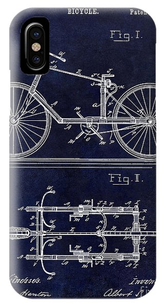 1895 iPhone Case - 1895 Bicycle Patent Drawing Blue by Jon Neidert