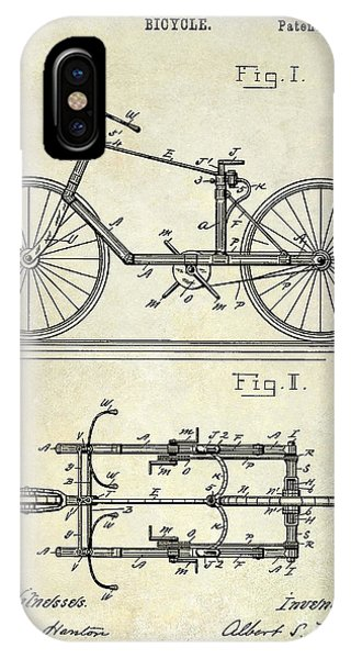 1895 iPhone Case - 1895 Bicycle Patent Drawing  by Jon Neidert